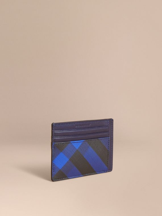 London Check Card Case in Bright Lapis