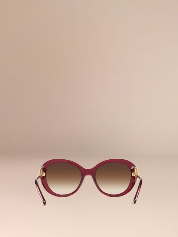 Oxblood Gabardine Collection Oversize Round Frame Sunglasses Oxblood - cell image 3