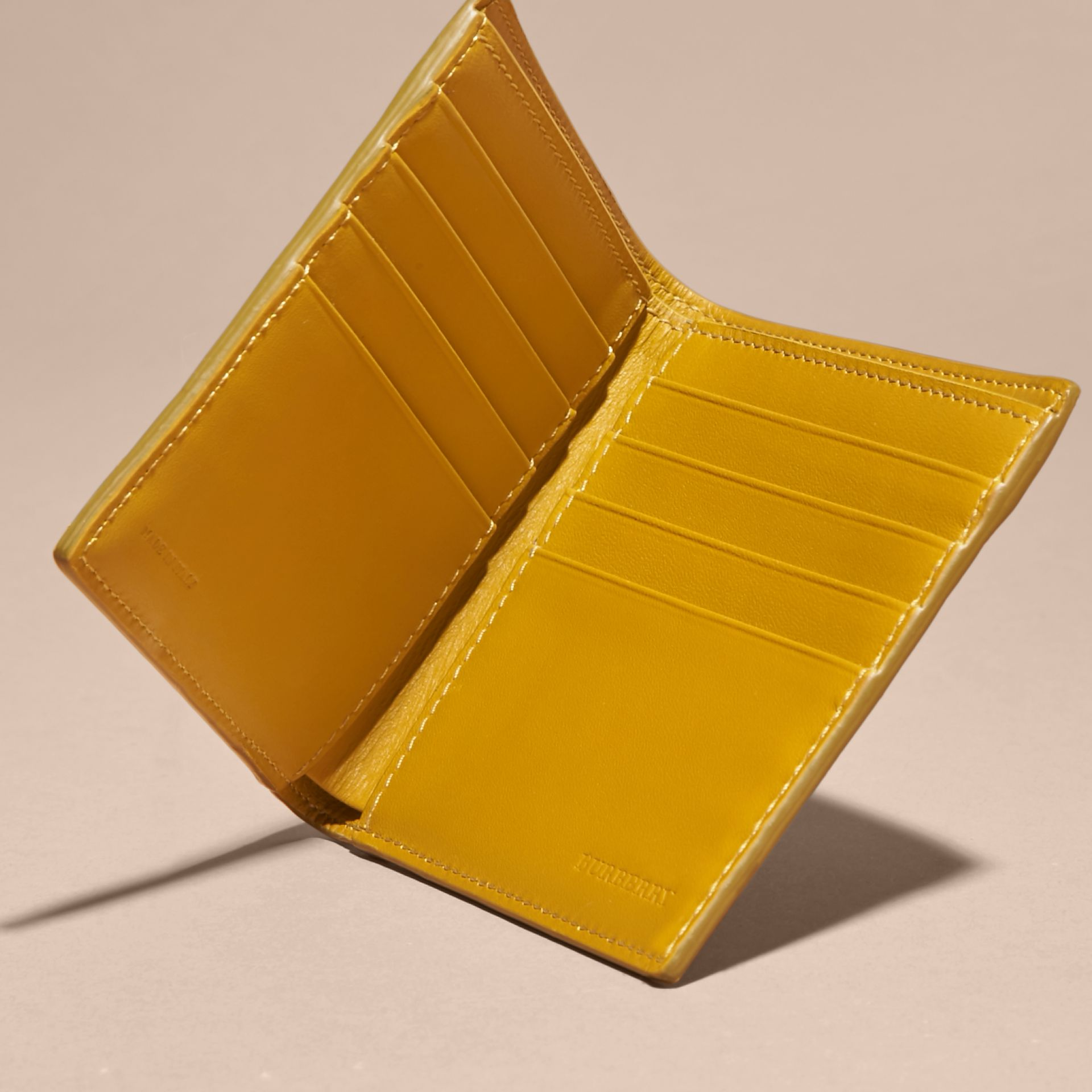 London Leather Folding Wallet Larch Yellow - gallery image 4