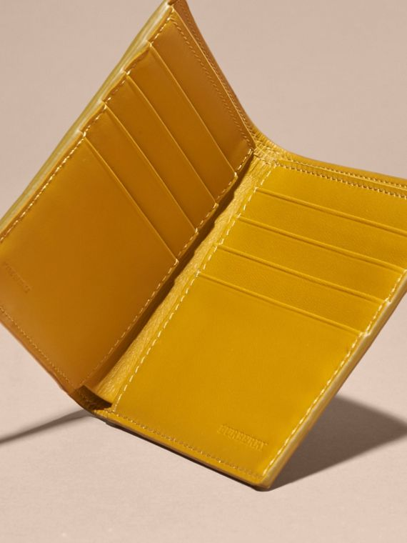 London Leather Folding Wallet Larch Yellow - cell image 3