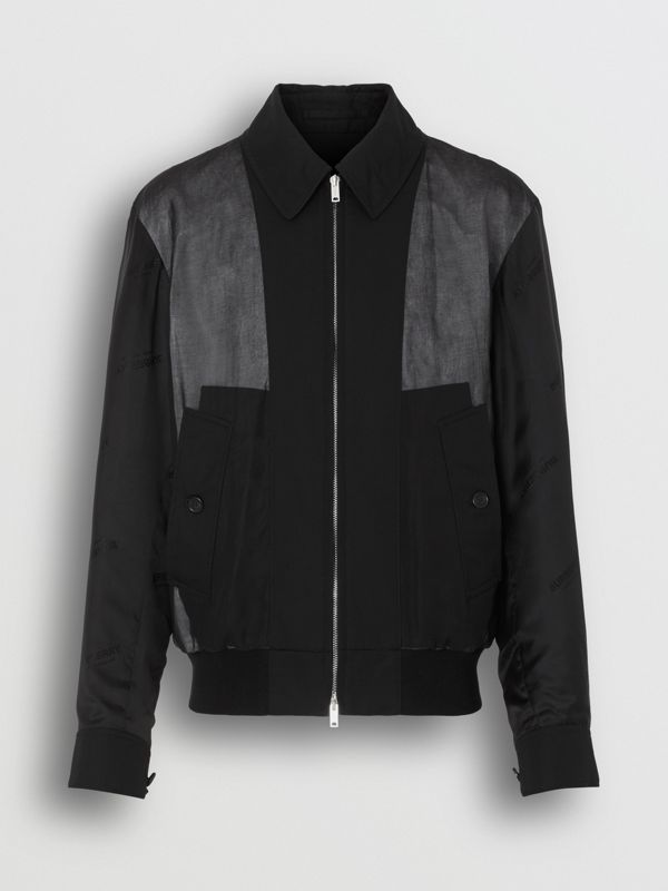Logo Detail Panelled Cotton Blouson in Black - Men | Burberry Singapore - cell image 3