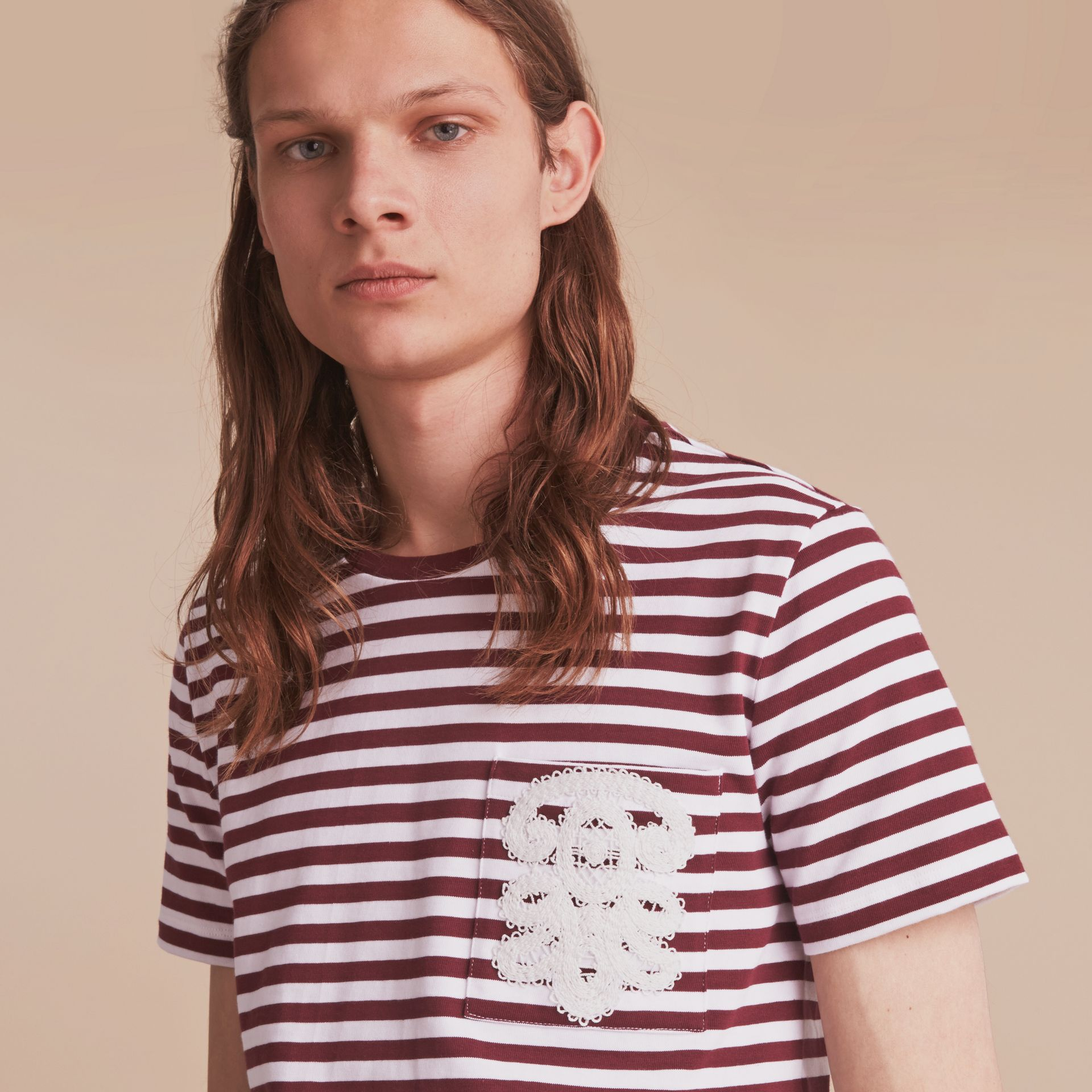 Lace Appliqué Detail Breton Stripe Cotton T-shirt in Burgundy/white - Men | Burberry Canada - gallery image 5