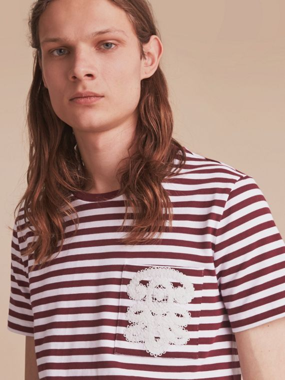 Lace Appliqué Detail Breton Stripe Cotton T-shirt