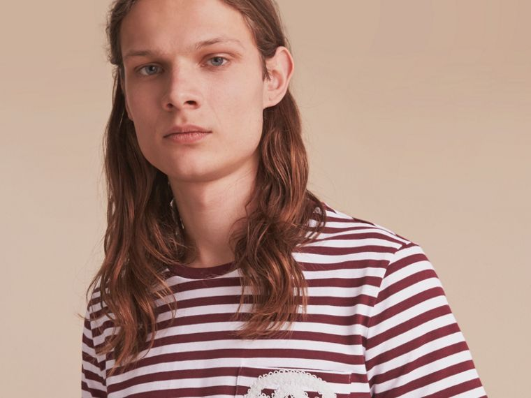 Lace Appliqué Detail Breton Stripe Cotton T-shirt in Burgundy/white - Men | Burberry - cell image 4