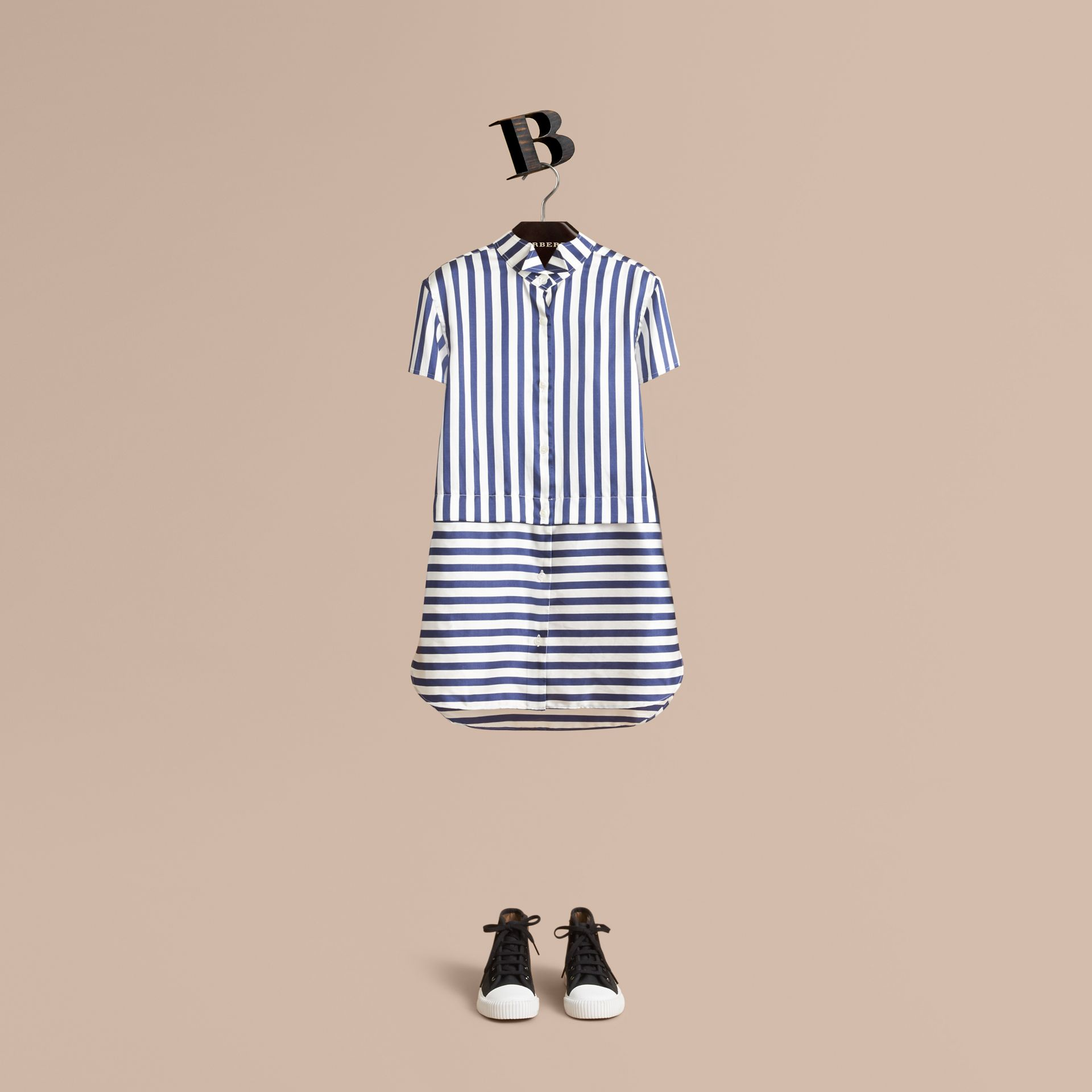 Striped Silk Cotton Shirt Dress in Indigo - Girl | Burberry - gallery image 1