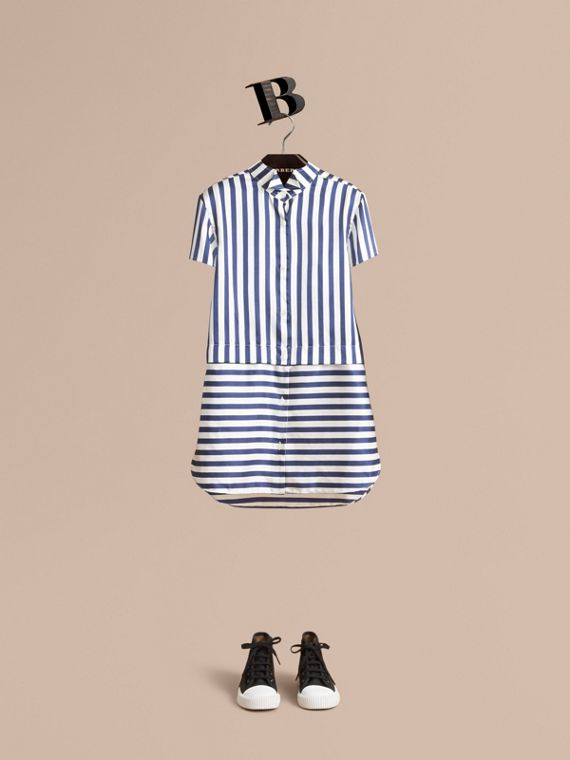 Striped Silk Cotton Shirt Dress