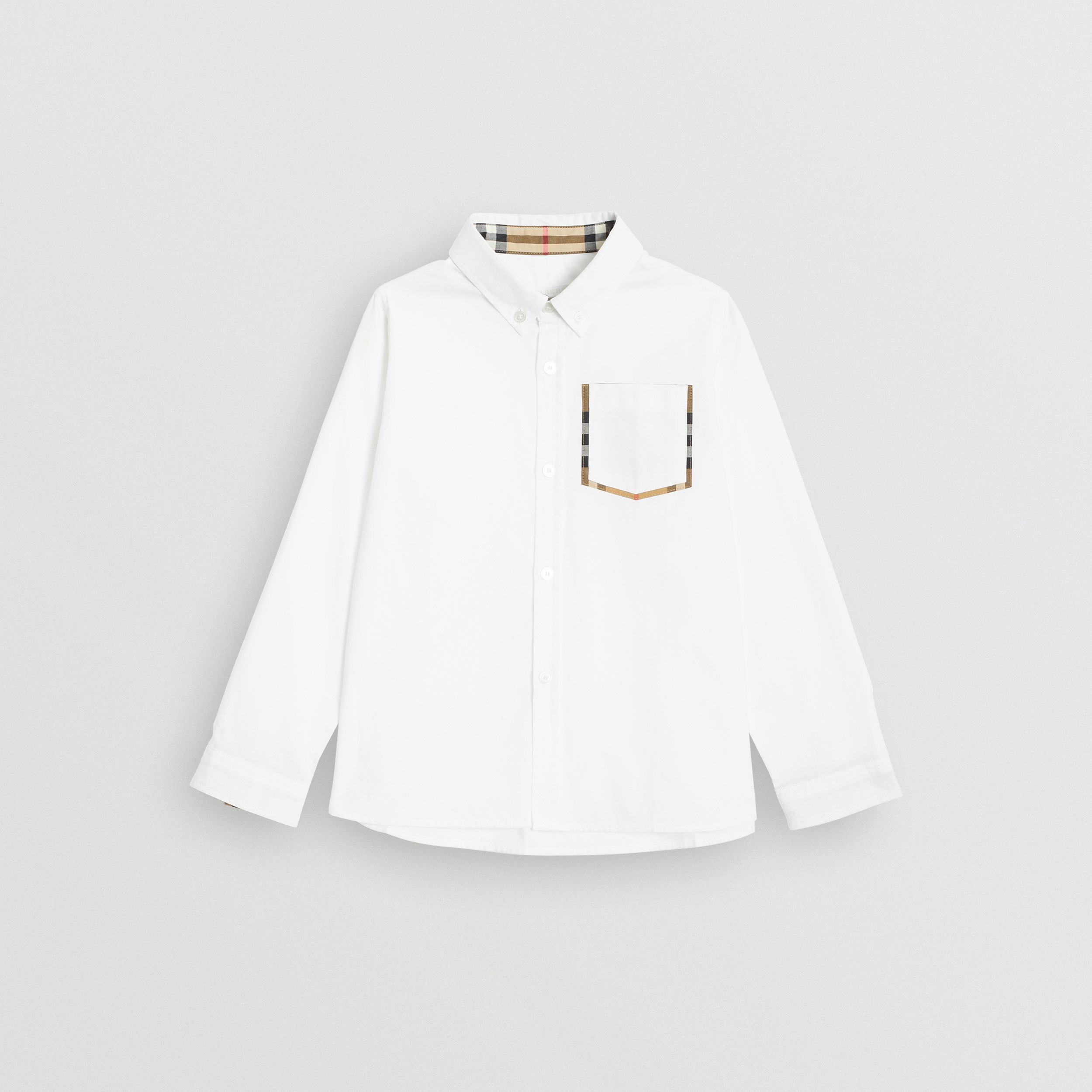Check Detail Cotton Oxford Shirt in White - Boy | Burberry - 1