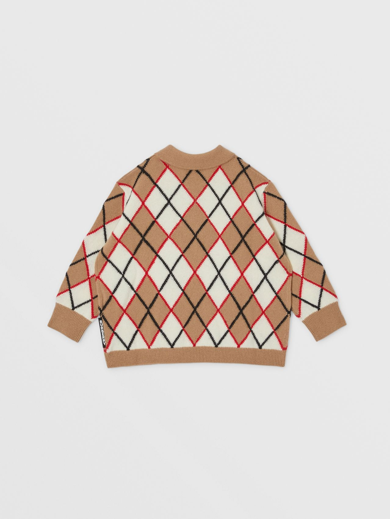 Long-sleeve Argyle Intarsia Wool Cashmere Polo Shirt in Camel