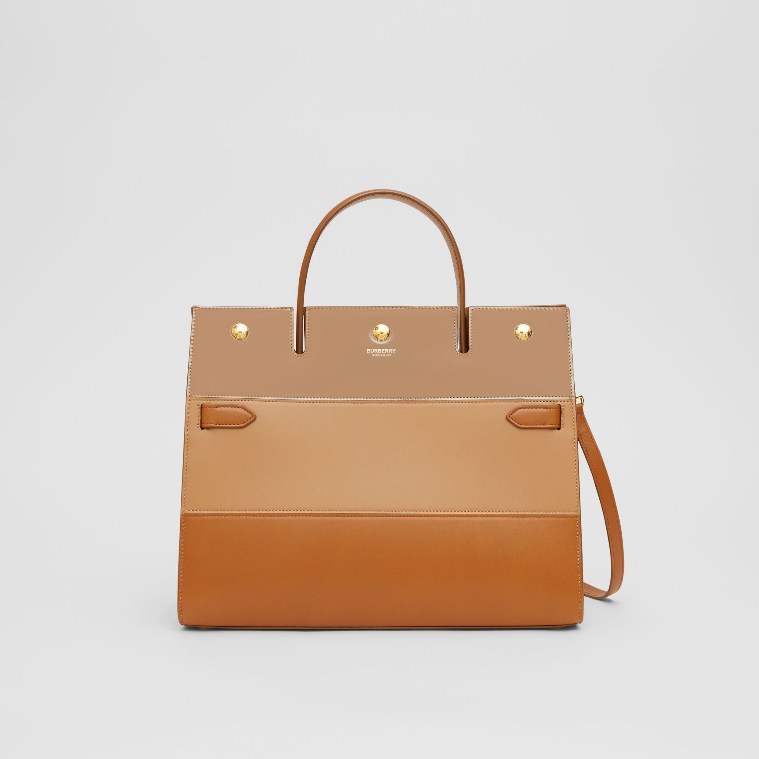 Medium Panelled Leather Title Bag in Soft Fawn - Women | Burberry - 1