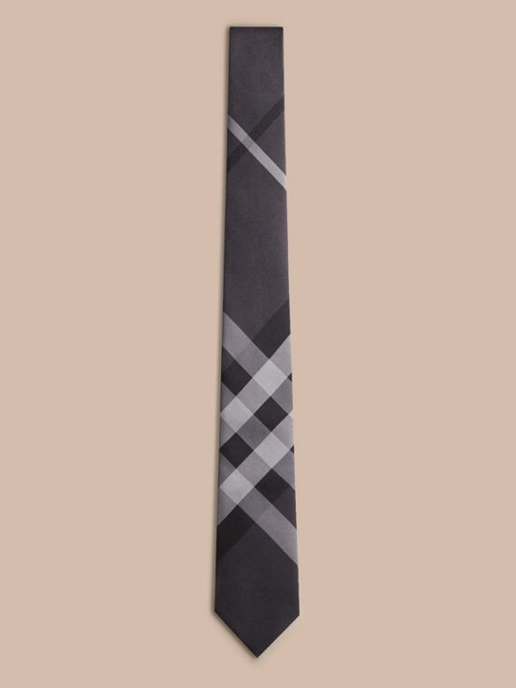 Dark charcoal Modern Cut Beat Check Silk Tie - cell image 3