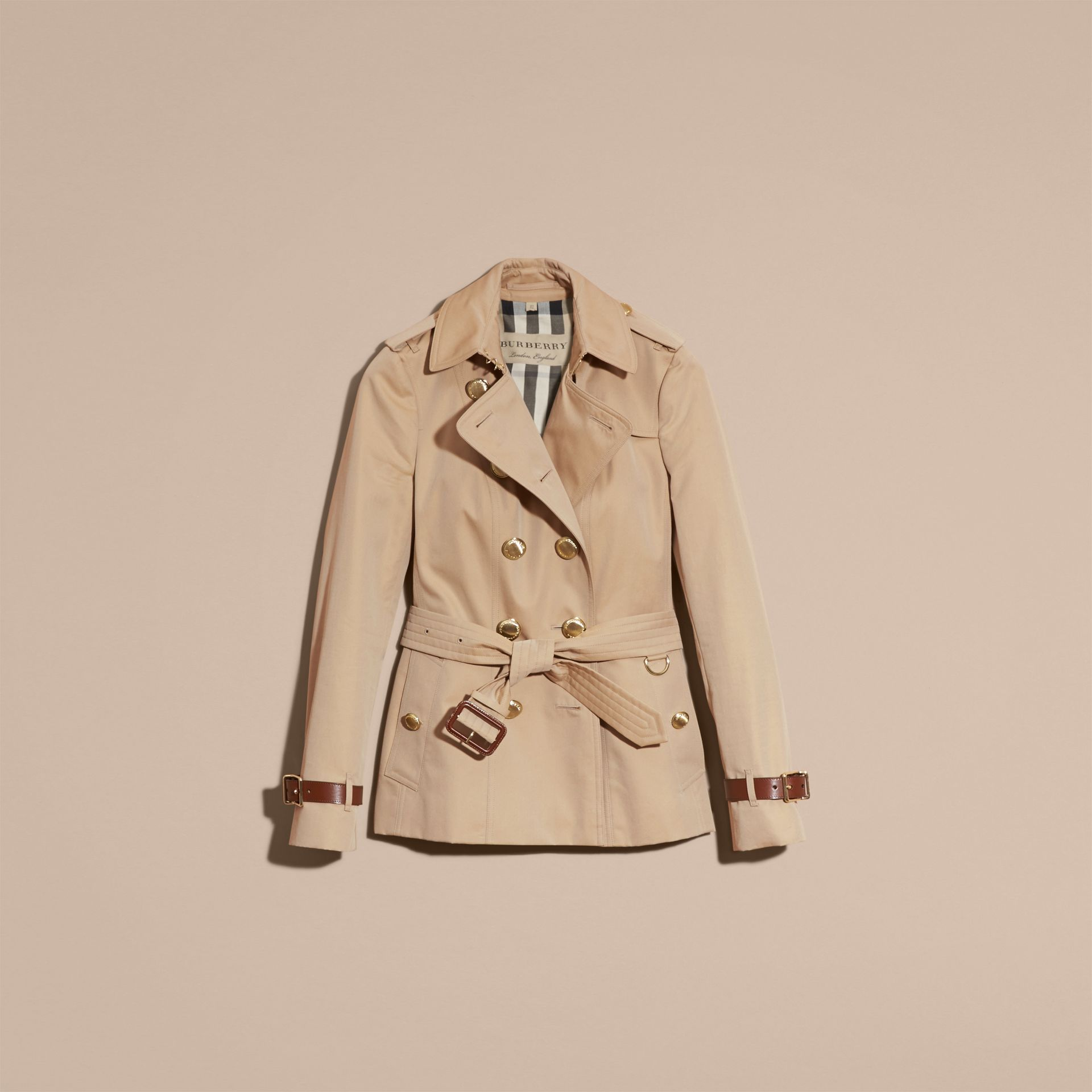 Honey Leather Detail Cotton Gabardine Trench Jacket - gallery image 4