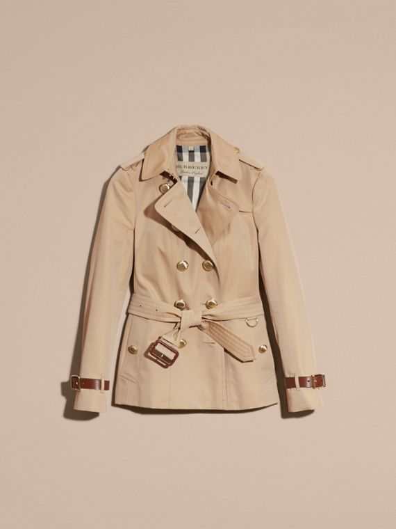 Honey Leather Detail Cotton Gabardine Trench Jacket - cell image 3