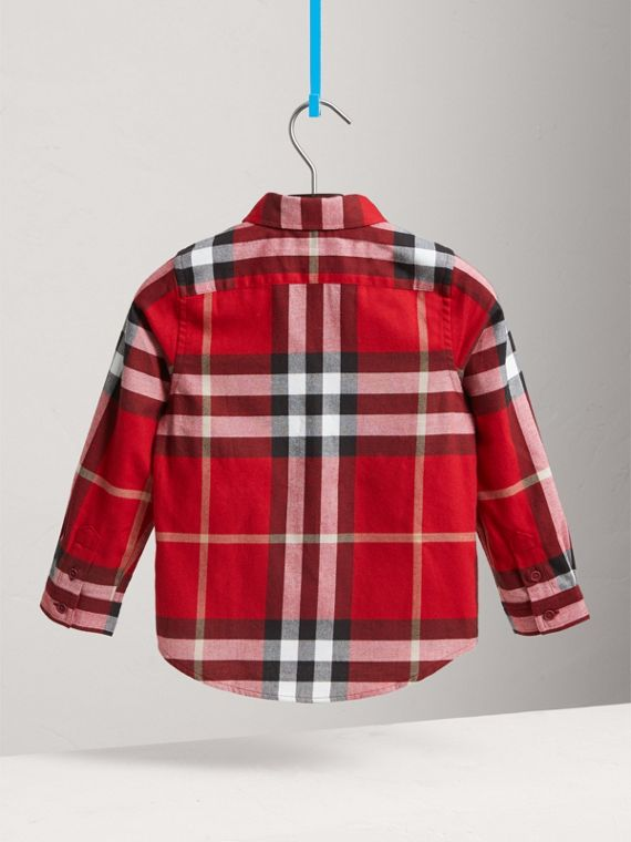 Check Cotton Flannel Button-Down Shirt in Parade Red - Boy | Burberry United Kingdom - cell image 3