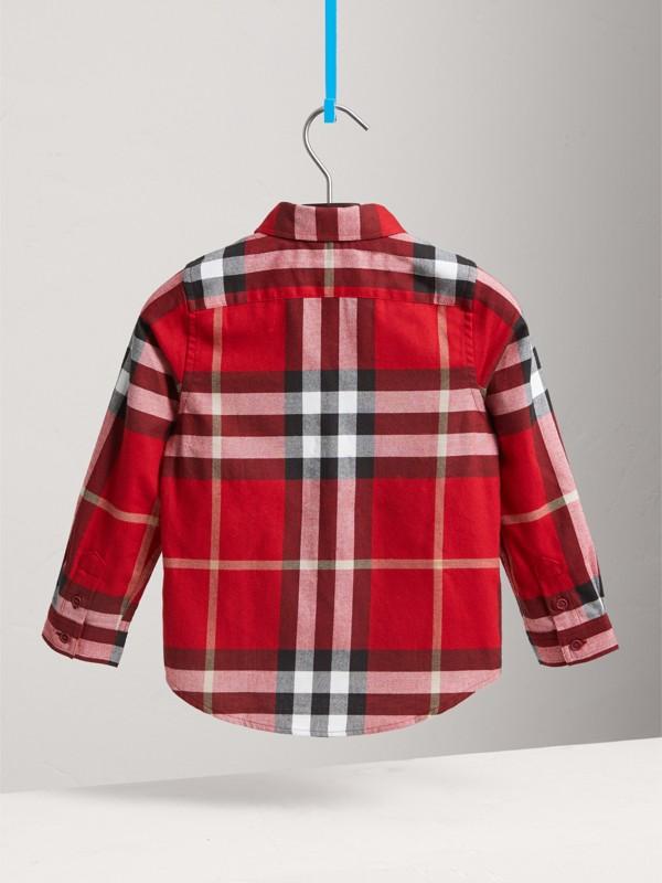 Camisa social xadrez de algodão (Vermelho Bandeira) - Menino | Burberry - cell image 3