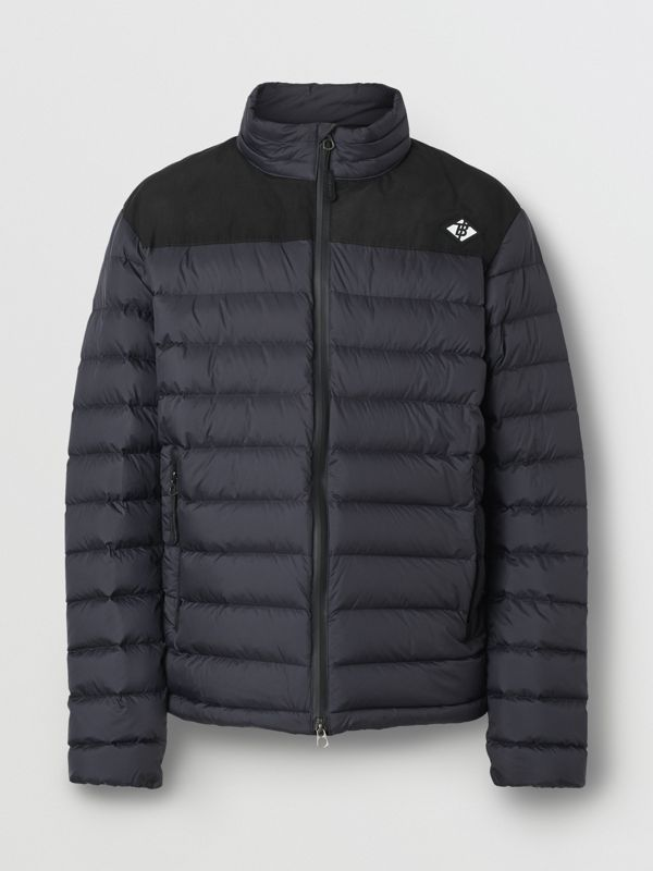 Logo Graphic Lightweight Puffer Jacket in Navy - Men | Burberry Singapore - cell image 3