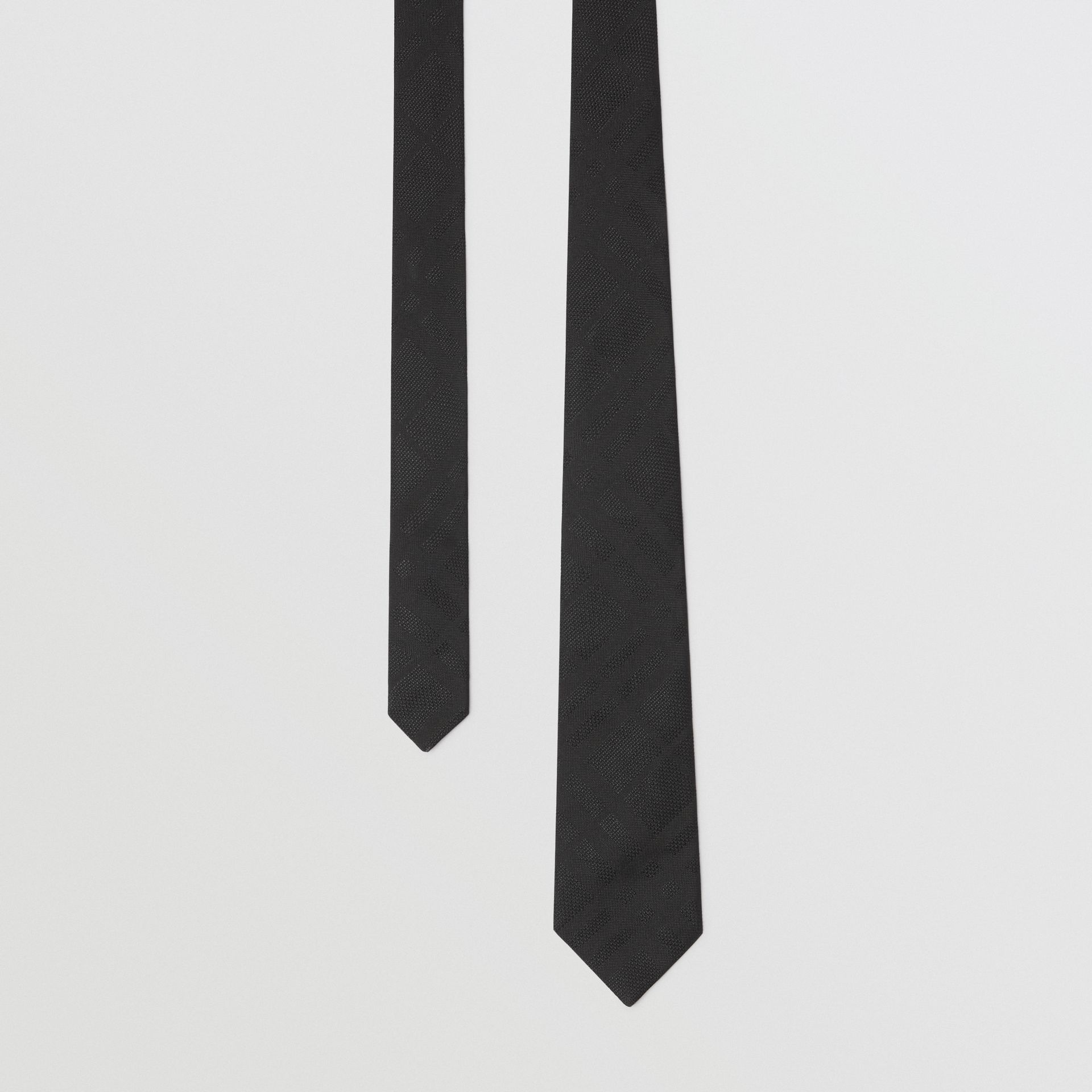 Modern Cut Check Silk Tie in Black - Men | Burberry United Kingdom - gallery image 0