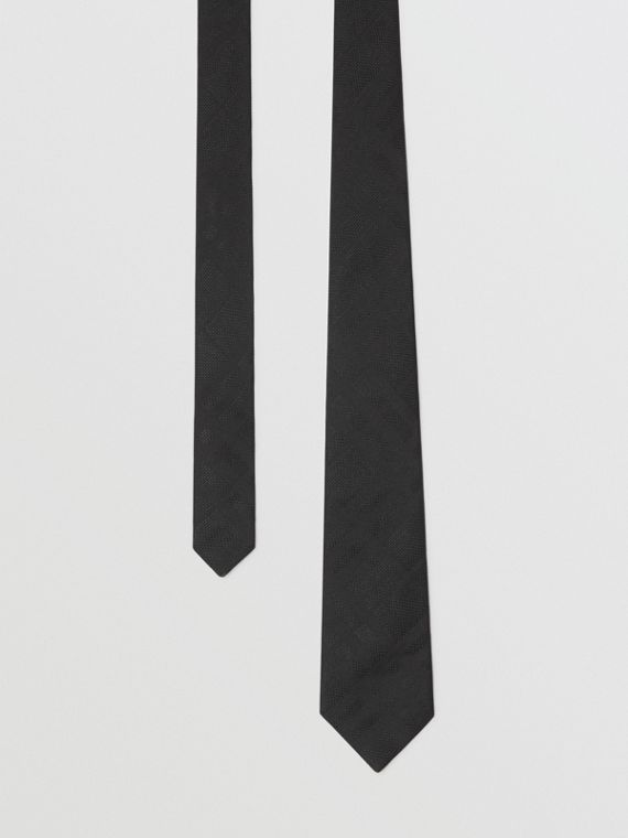 Modern Cut Check Silk Tie in Black