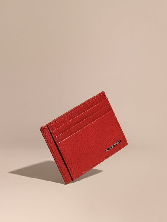 London Leather Card Case Dark Military Red