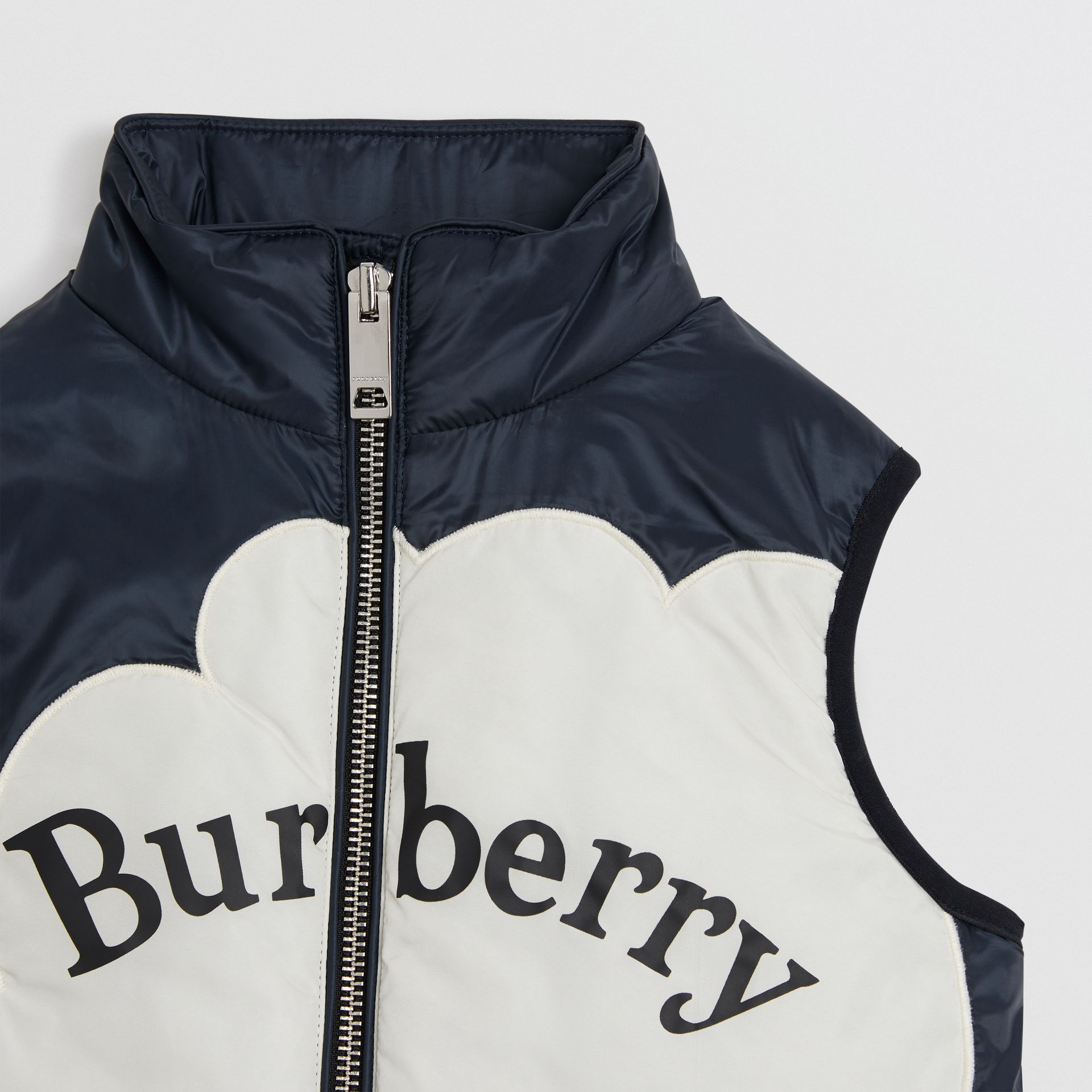 Rainbow Graphic Showerproof Down-filled Gilet in Midnight | Burberry Singapore - gallery image 3