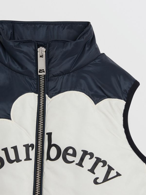Rainbow Graphic Showerproof Down-filled Gilet in Midnight | Burberry - cell image 3