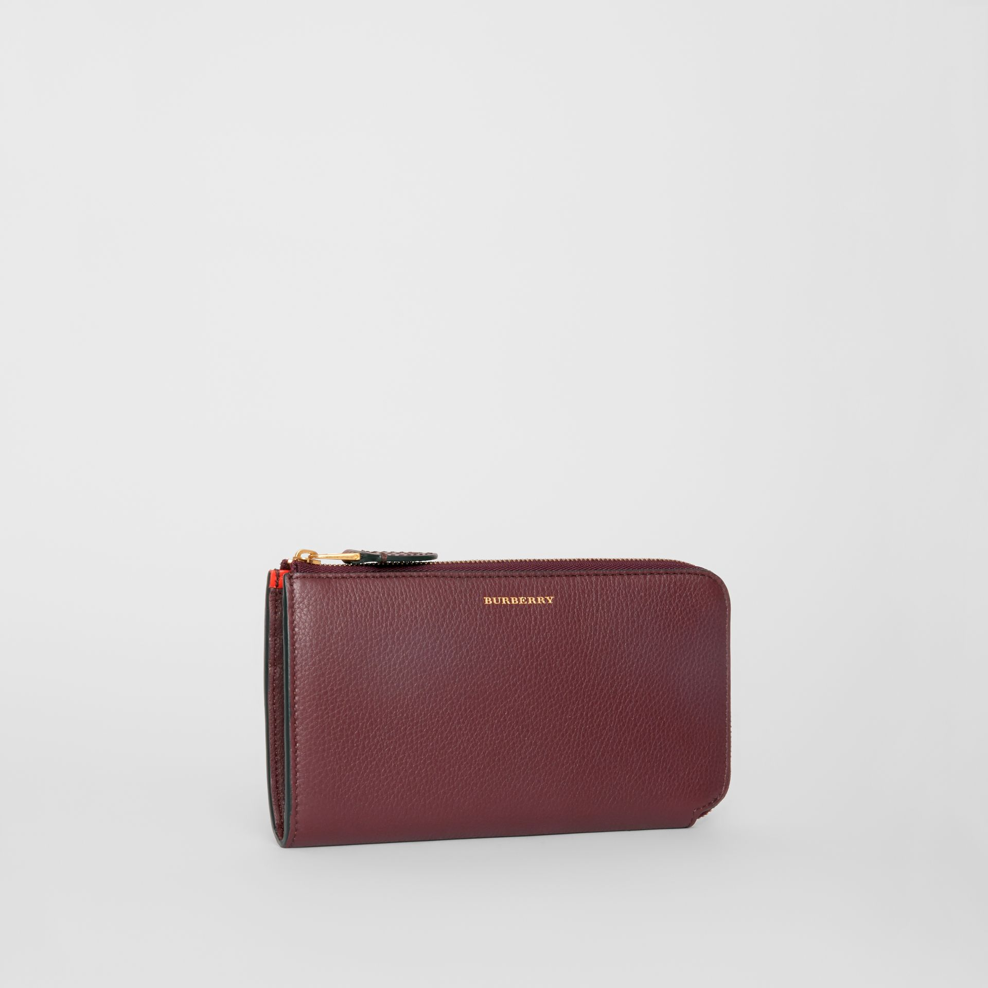 Two-tone Leather Ziparound Wallet and Coin Case in Deep Claret - Women | Burberry - gallery image 4