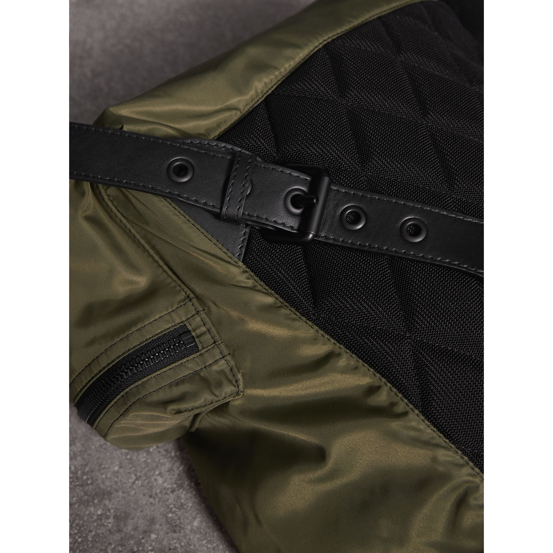 The Large Rucksack in Technical Nylon and Leather in Canvas Green | Burberry - gallery image 7