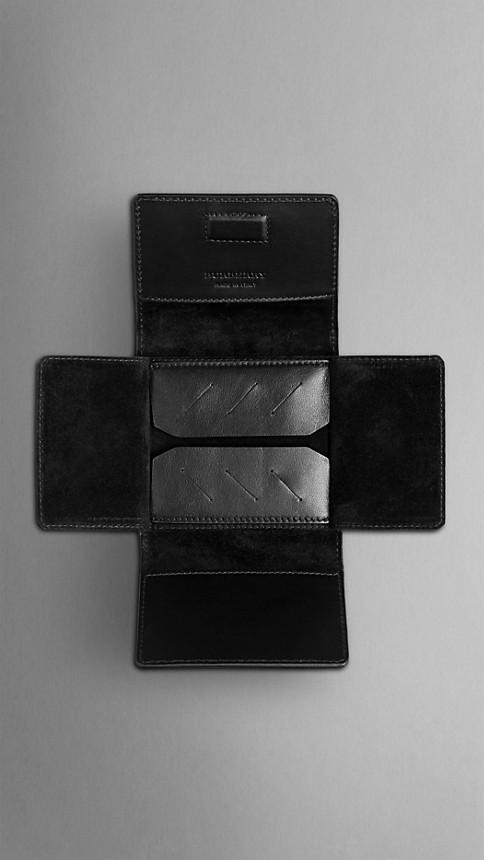 Black Sartorial Leather Cufflink Travel Case - Image 4