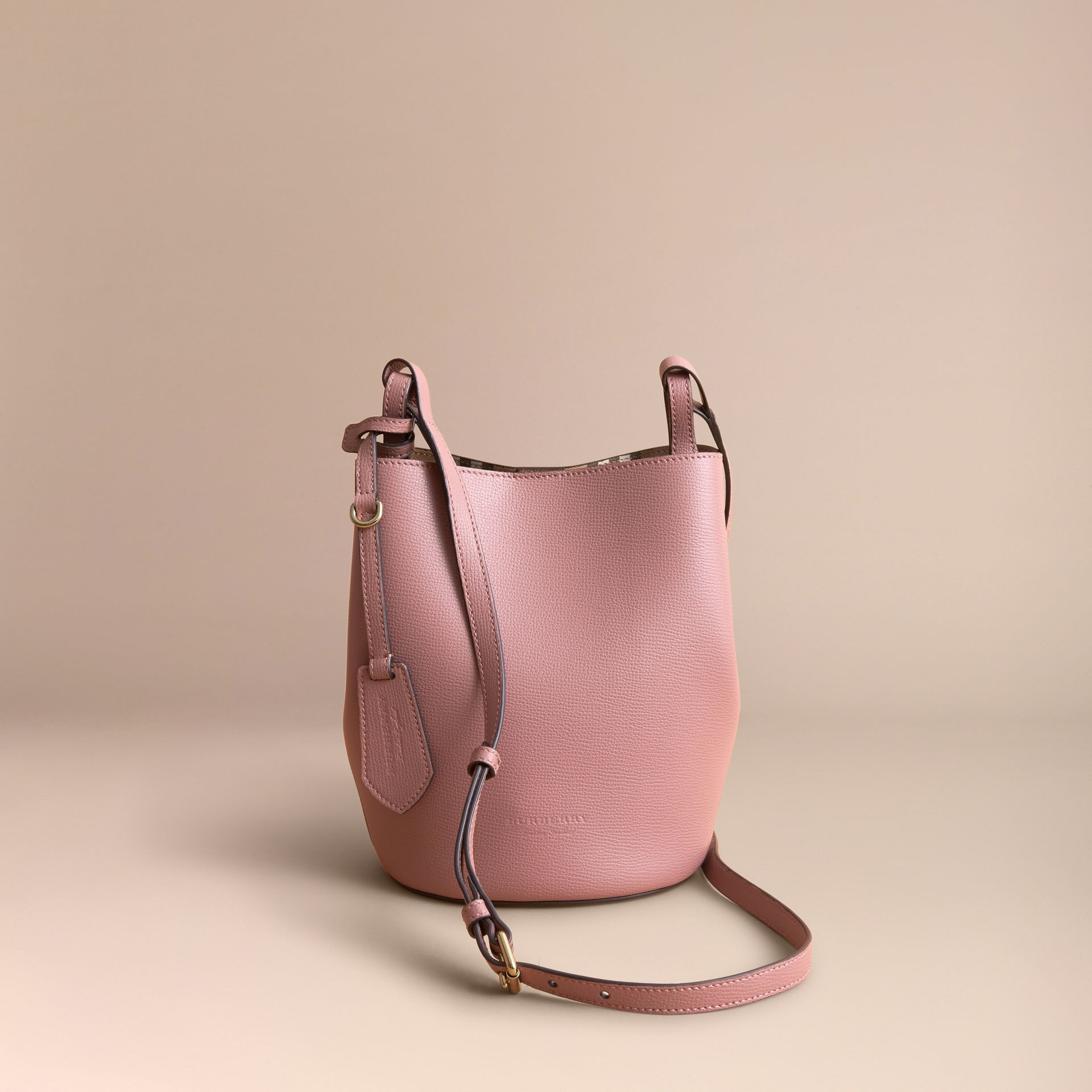 Leather and Haymarket Check Crossbody Bucket Bag in Light Elderberry - Women | Burberry Canada - gallery image 6