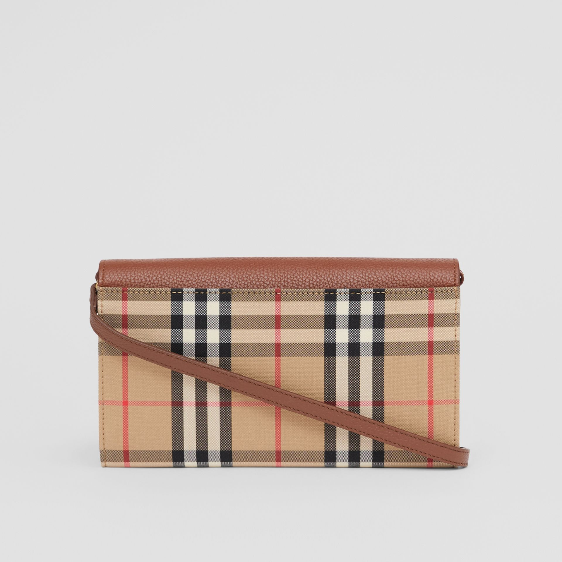 Vintage Check and Leather Wallet with Detachable Strap in Tan - Women | Burberry - gallery image 7