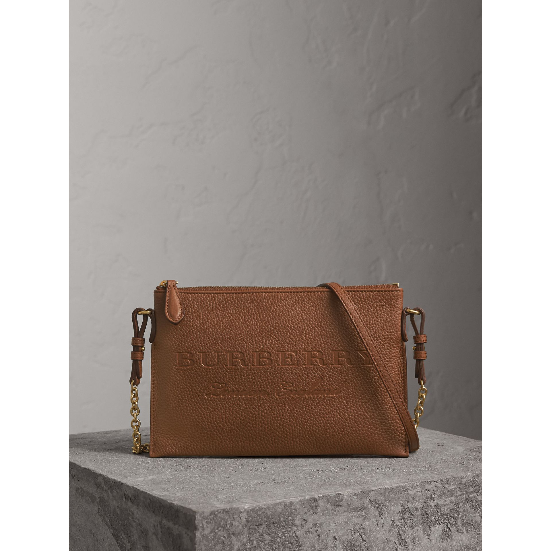 Embossed Leather Clutch Bag in Chestnut Brown - Women | Burberry - gallery image 1