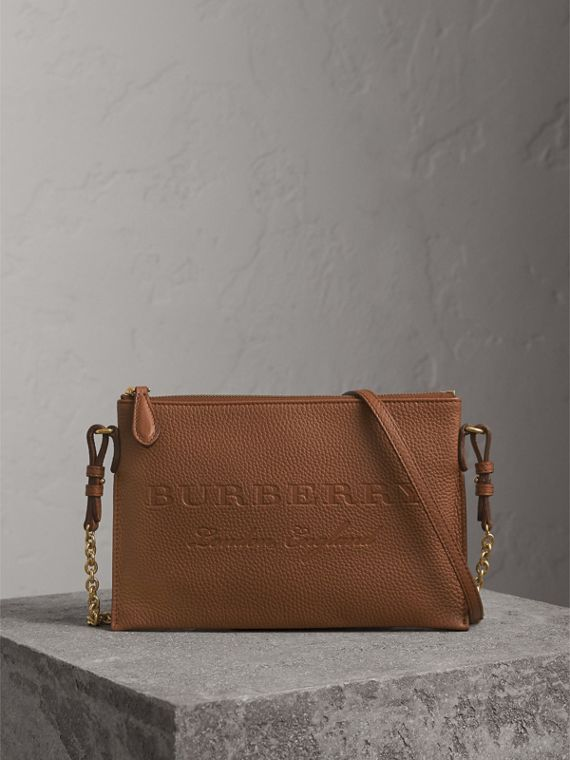 Embossed Leather Clutch Bag in Chestnut Brown