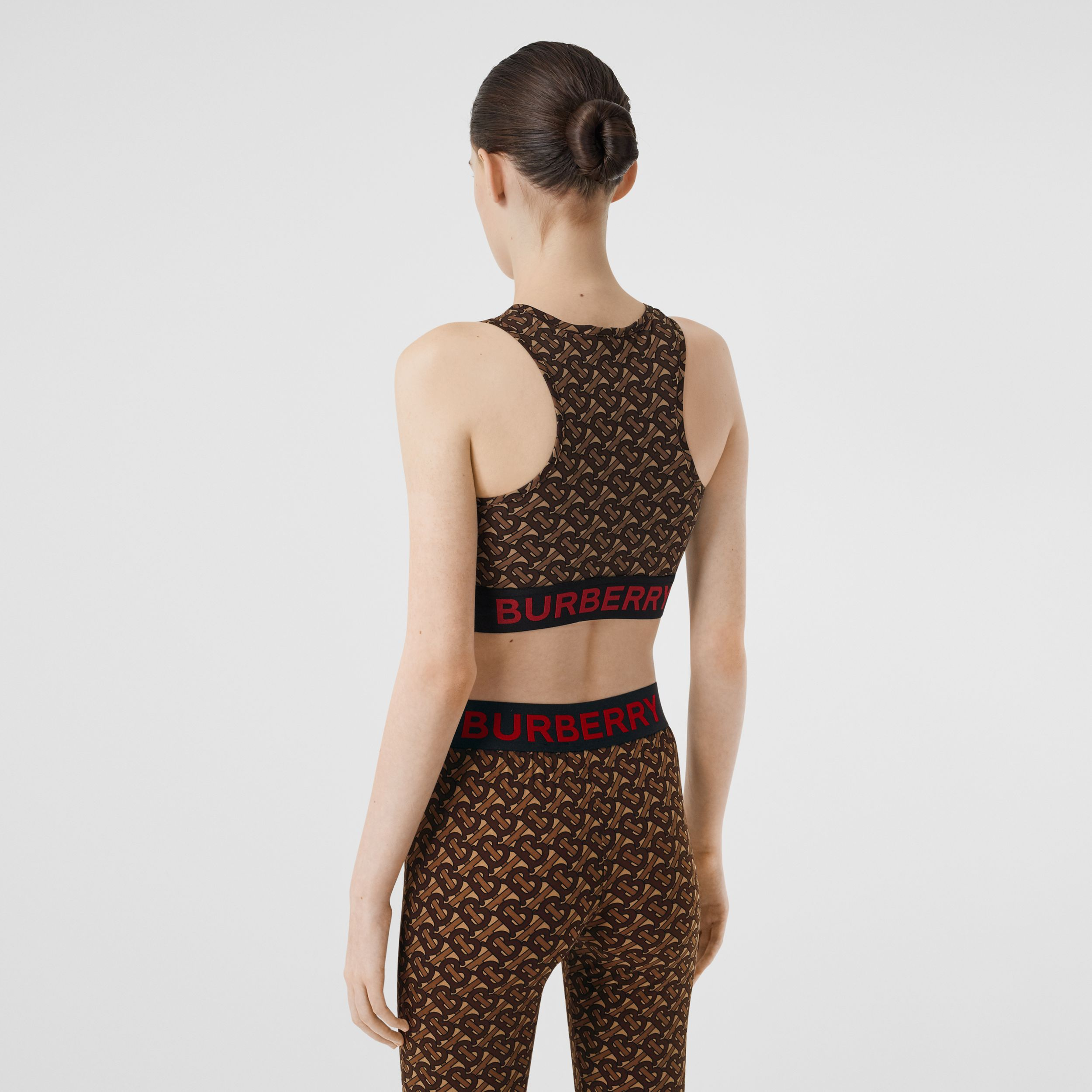Monogram Print Stretch Jersey Cropped Top in Bridle Brown - Women | Burberry - 3