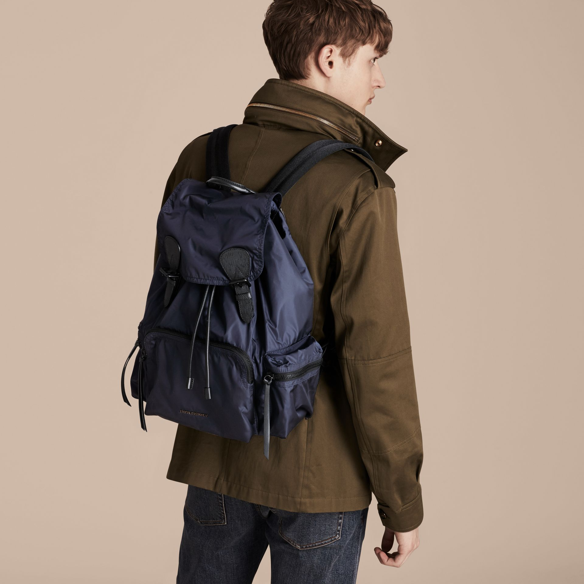 The Large Rucksack in Technical Nylon and Leather Ink Blue - gallery image 3