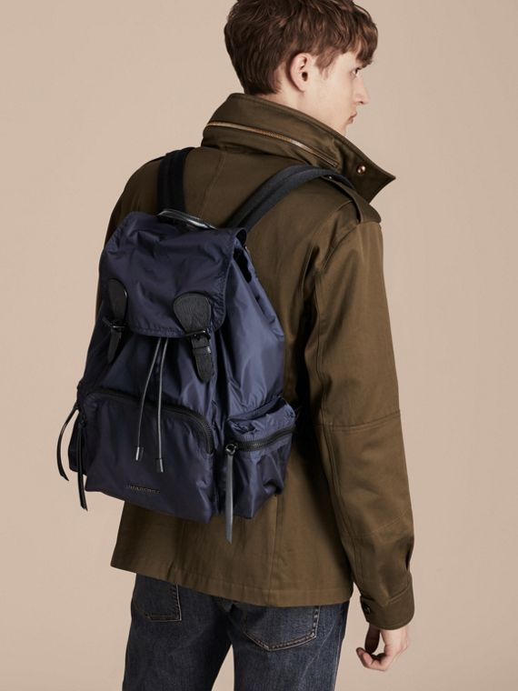 The Large Rucksack in Technical Nylon and Leather Ink Blue - cell image 2
