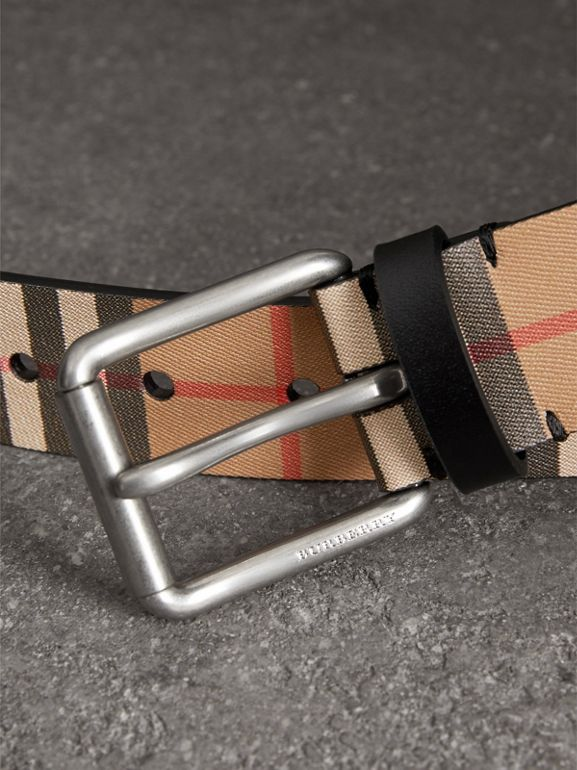 Vintage Check Leather Belt in Black - Men | Burberry Canada - cell image 1