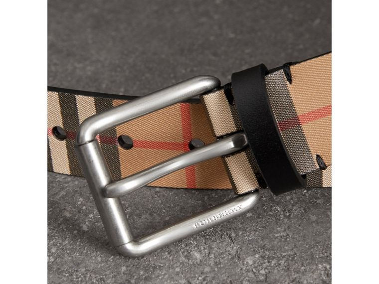 Vintage Check Leather Belt in Black - Men | Burberry - cell image 1