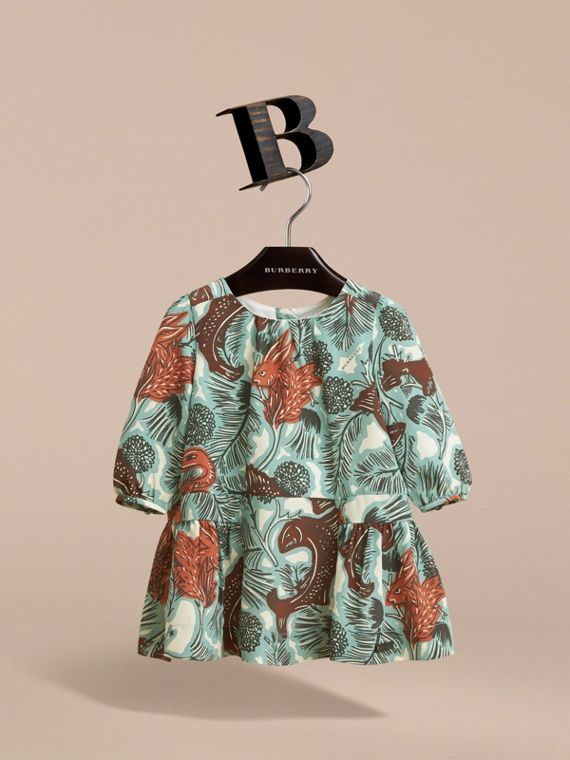 Beasts Print Silk Gathered Dress in Pale Celadon | Burberry - cell image 2