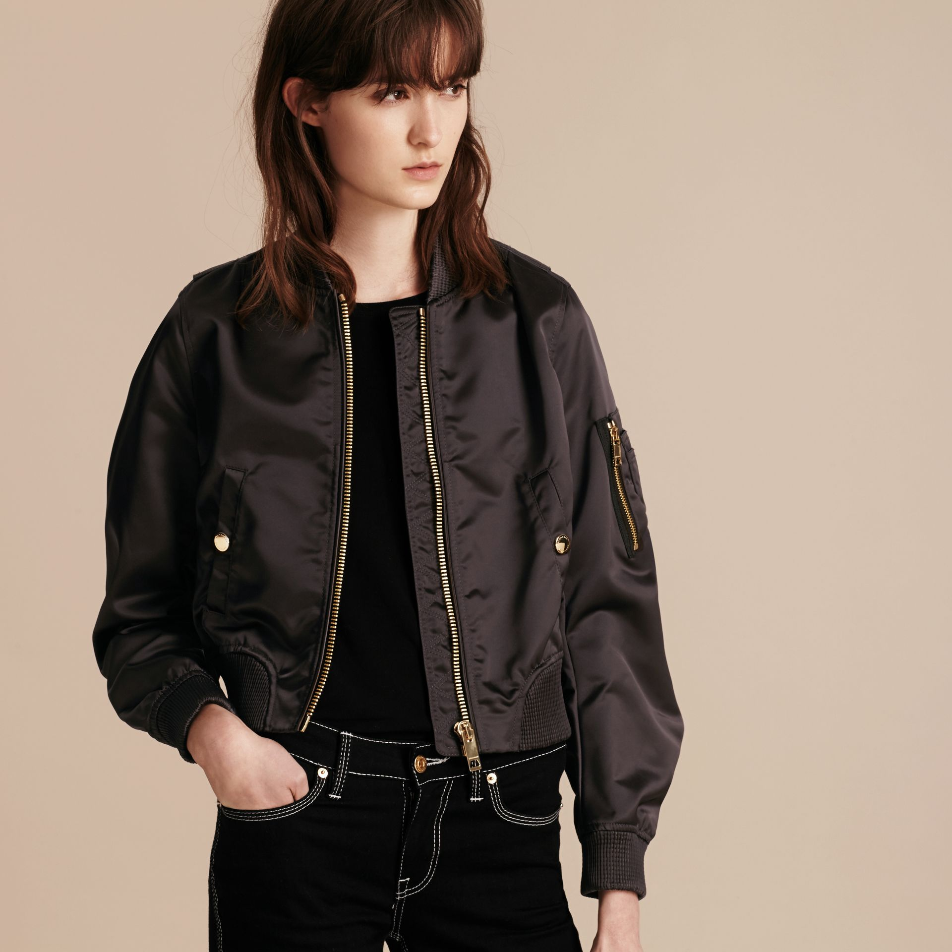 Graphite Cropped Technical Bomber Jacket - gallery image 7