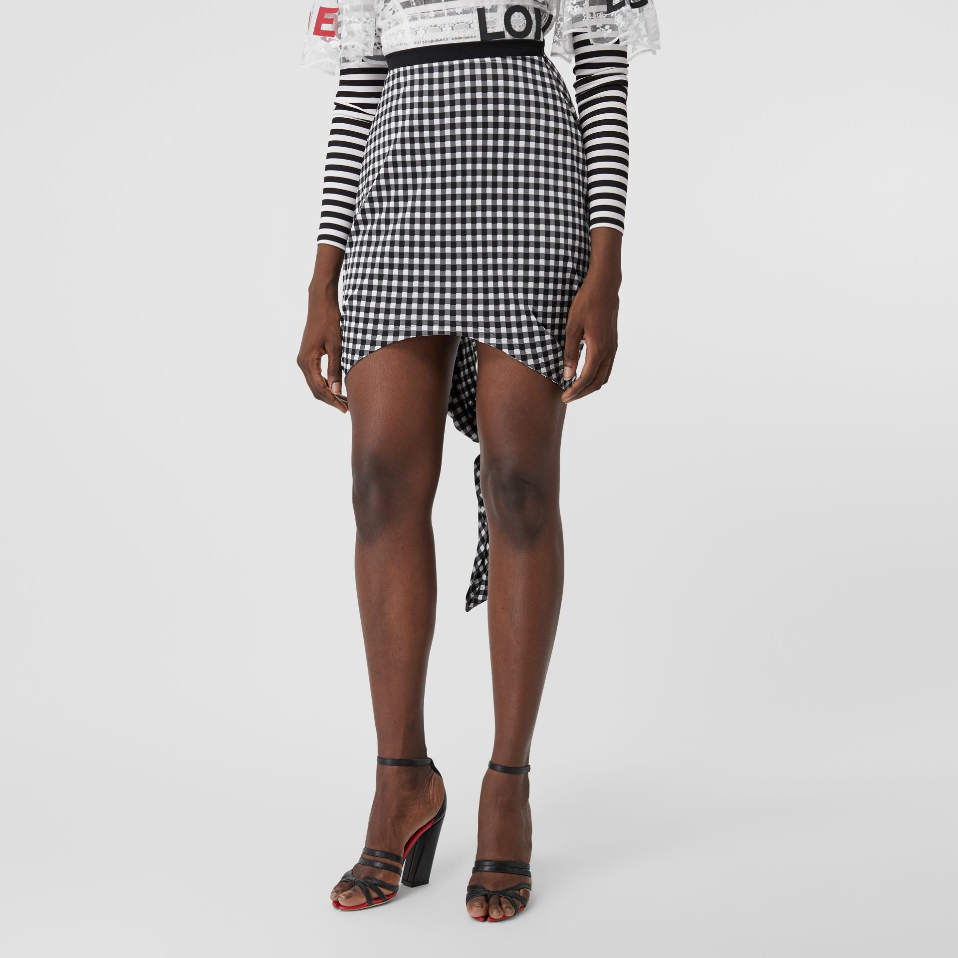 Scarf-tie Detail Gingham Mini Skirt in Black - Women | Burberry - gallery image 4