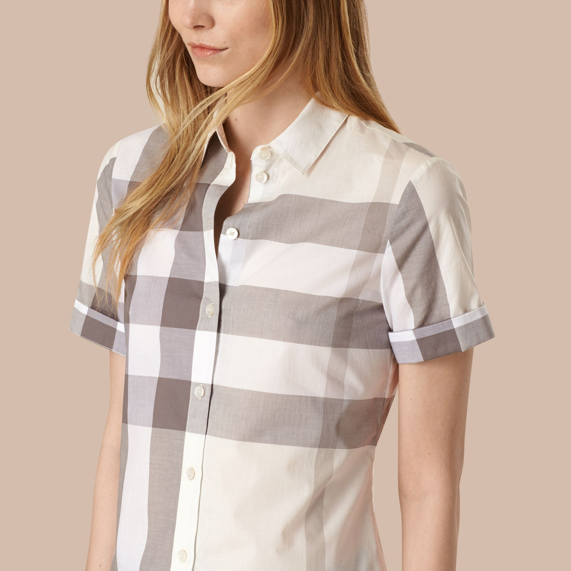 Natural Short-sleeved Check Cotton Shirt Natural - gallery image 4