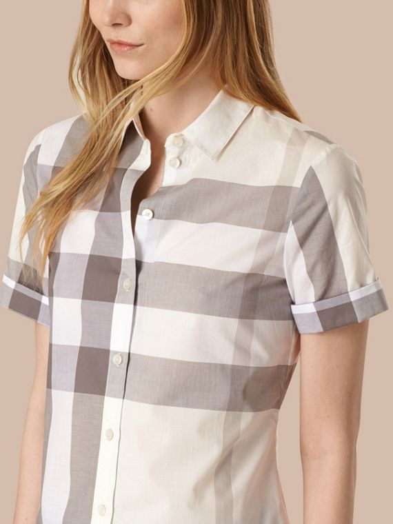 Natural Short-sleeved Check Cotton Shirt Natural - cell image 3