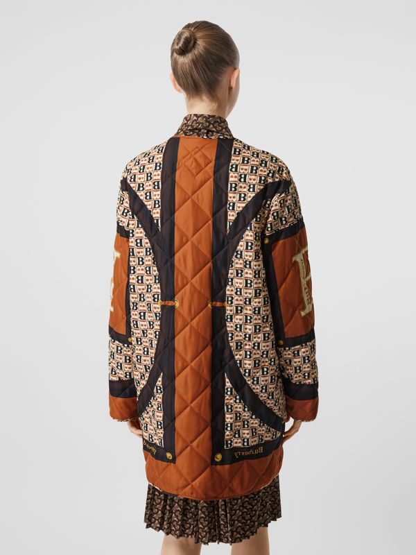 Archive Scarf Print Diamond Quilted Coat in Clay Sienna - Women | Burberry - cell image 2