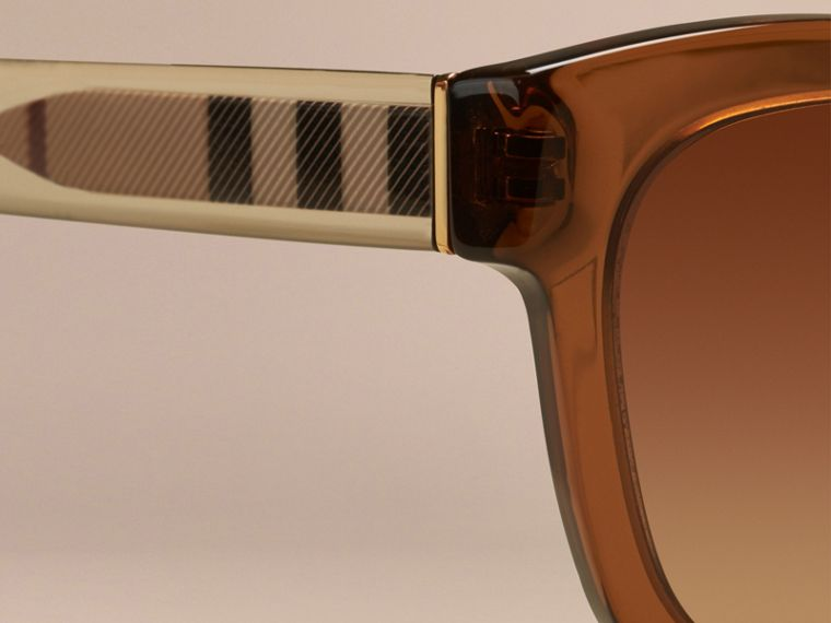 Taupe brown Check Detail Cat-eye Sunglasses Taupe Brown - cell image 1
