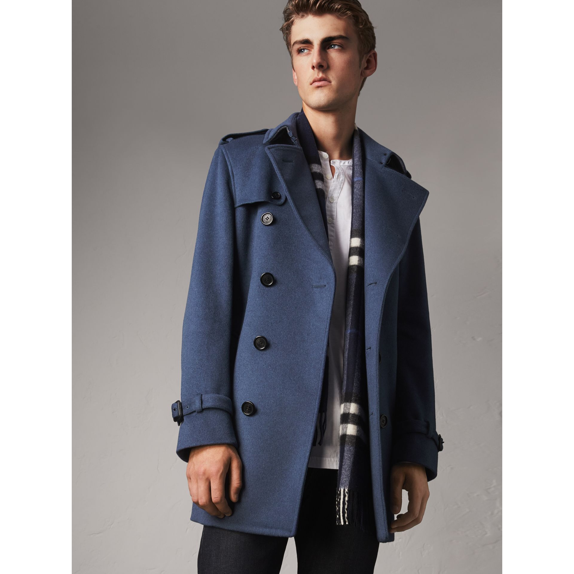 Wool Cashmere Trench Coat in Dark Canvas Blue - Men | Burberry Singapore - gallery image 1