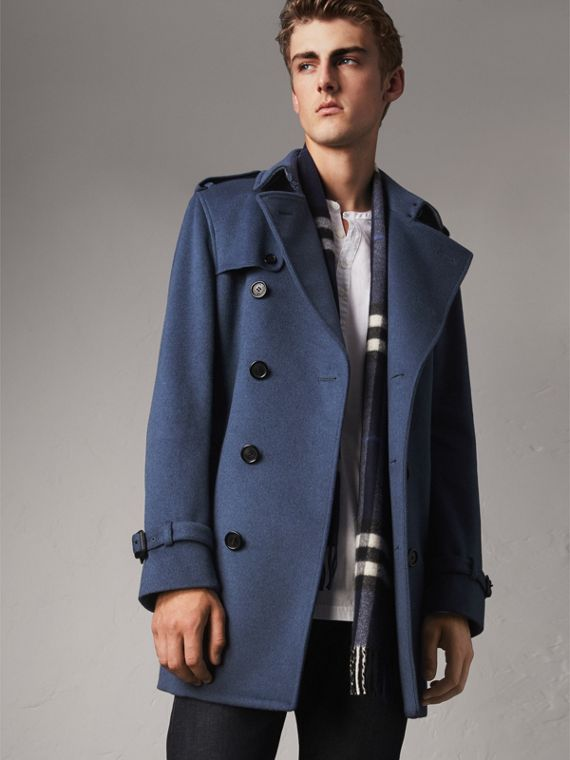 Trench coat in lana e cashmere (Blu Tela Scuro) - Uomo | Burberry