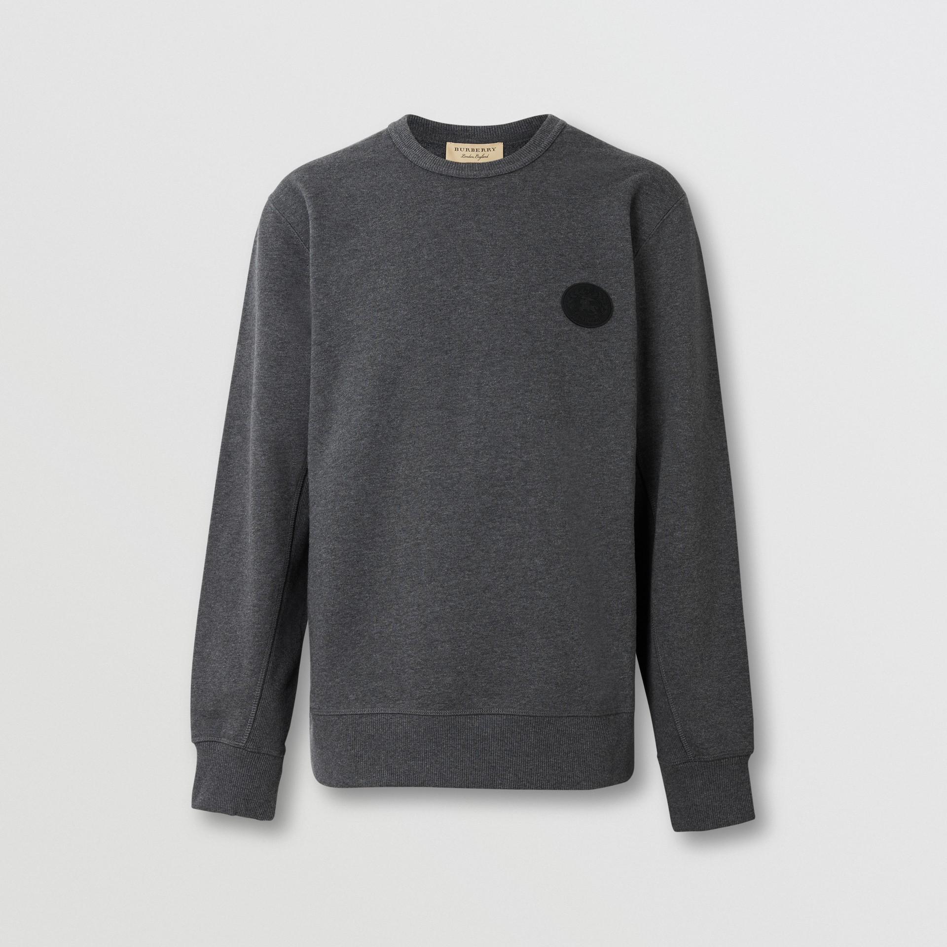 Embroidered Crest Cotton Sweatshirt in Mid Grey Melange - Men | Burberry United Kingdom - gallery image 3