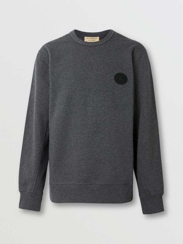 Embroidered Crest Cotton Sweatshirt in Mid Grey Melange - Men | Burberry United Kingdom - cell image 3