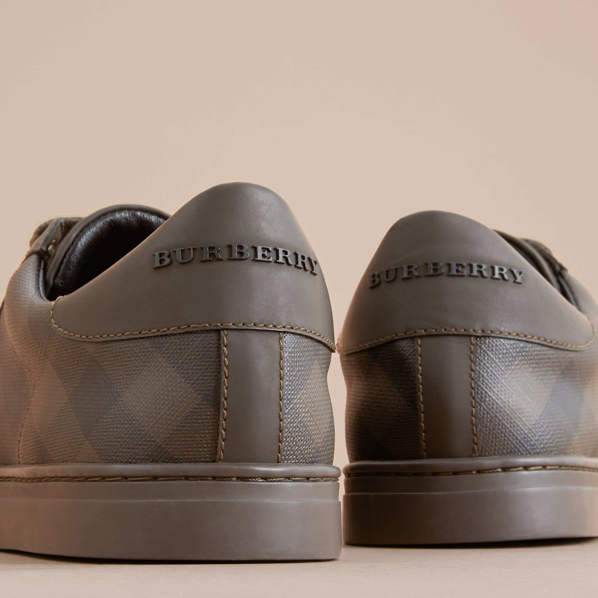 Check Detail Leather Trainers in Peppercorn - Men | Burberry - gallery image 2