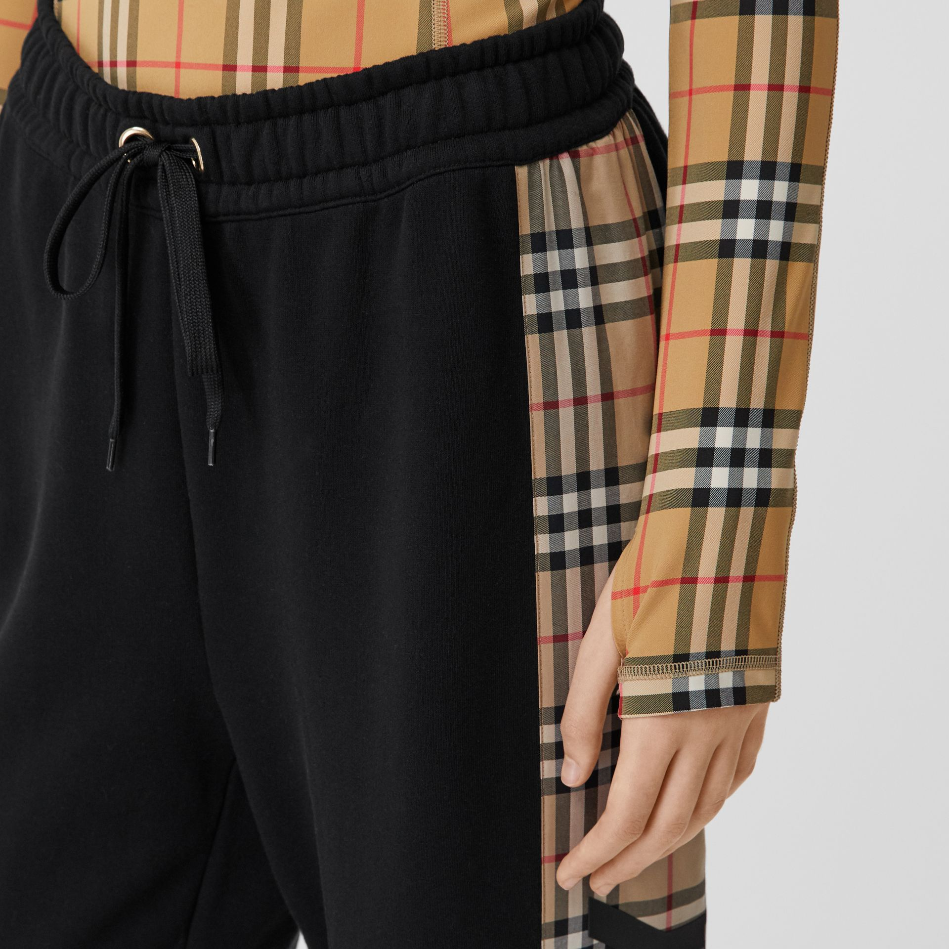 Vintage Check Stretch Jersey Turtleneck Top in Archive Beige - Women | Burberry United Kingdom - gallery image 4