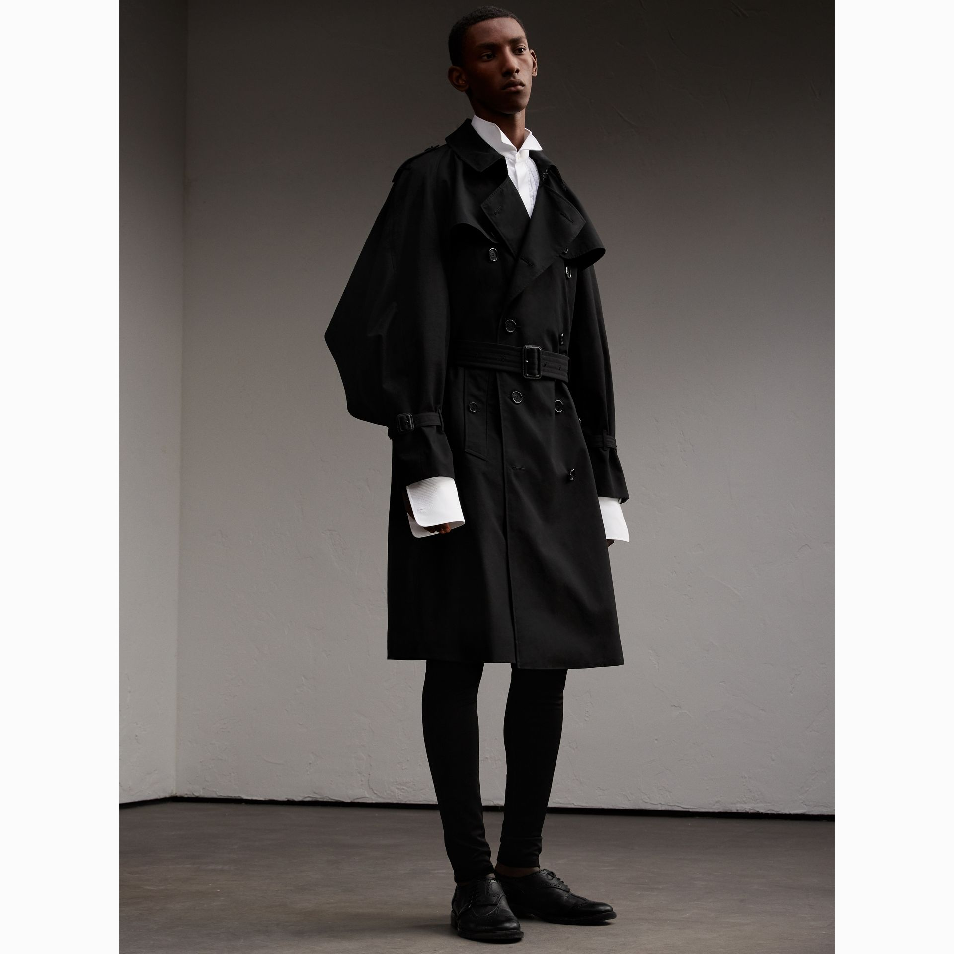 Cotton Gabardine Sculptural Trench Coat in Black - Men | Burberry - gallery image 6